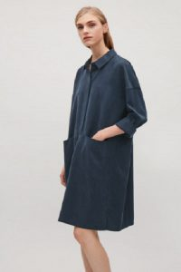 COS Navy blue shirt dress