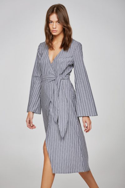 Stripe Long Sleeve Wrap Dress