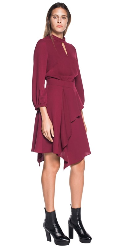 Crepe asymmetric hem dress