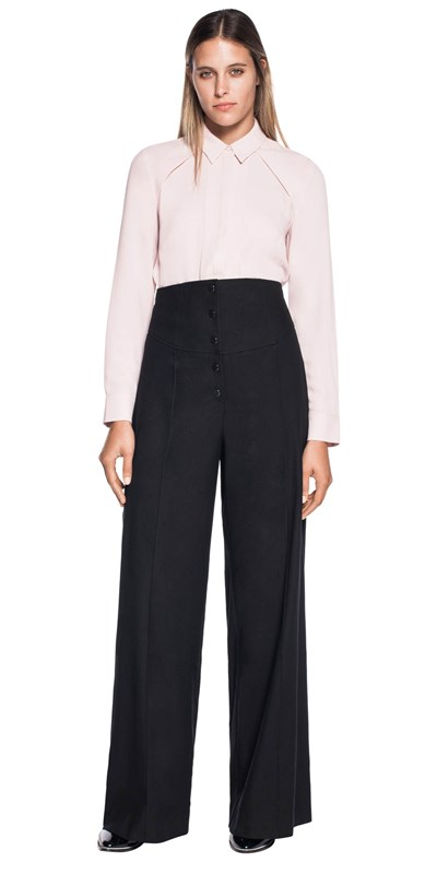 Stretch cotton high waisted pant