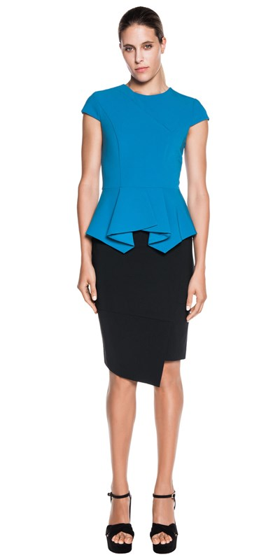 Angular split front pencil skirt