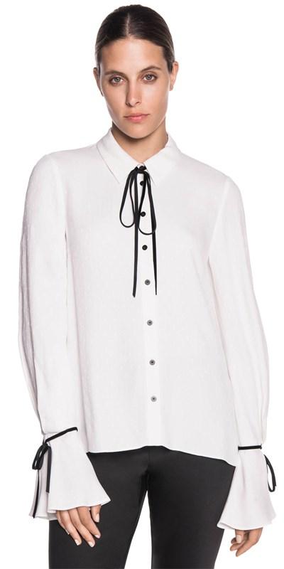 Spot jacquard blouse
