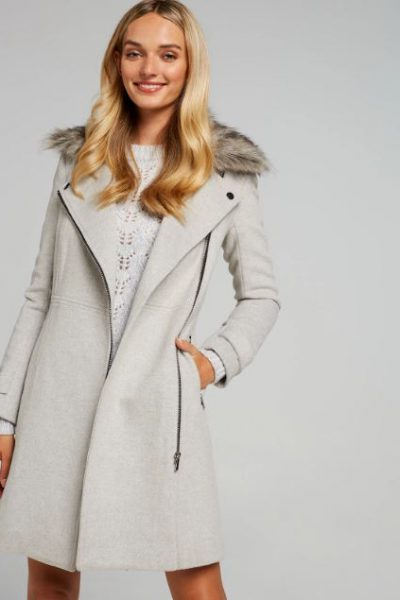 Ella Faux Fur Biker Coat